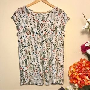 Anthropologie Linen Floral Top Cynthia Rowley L